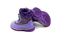 Фиолетовые  зимние сапожки на девочку. Натуральный мех и кожа. 23-28