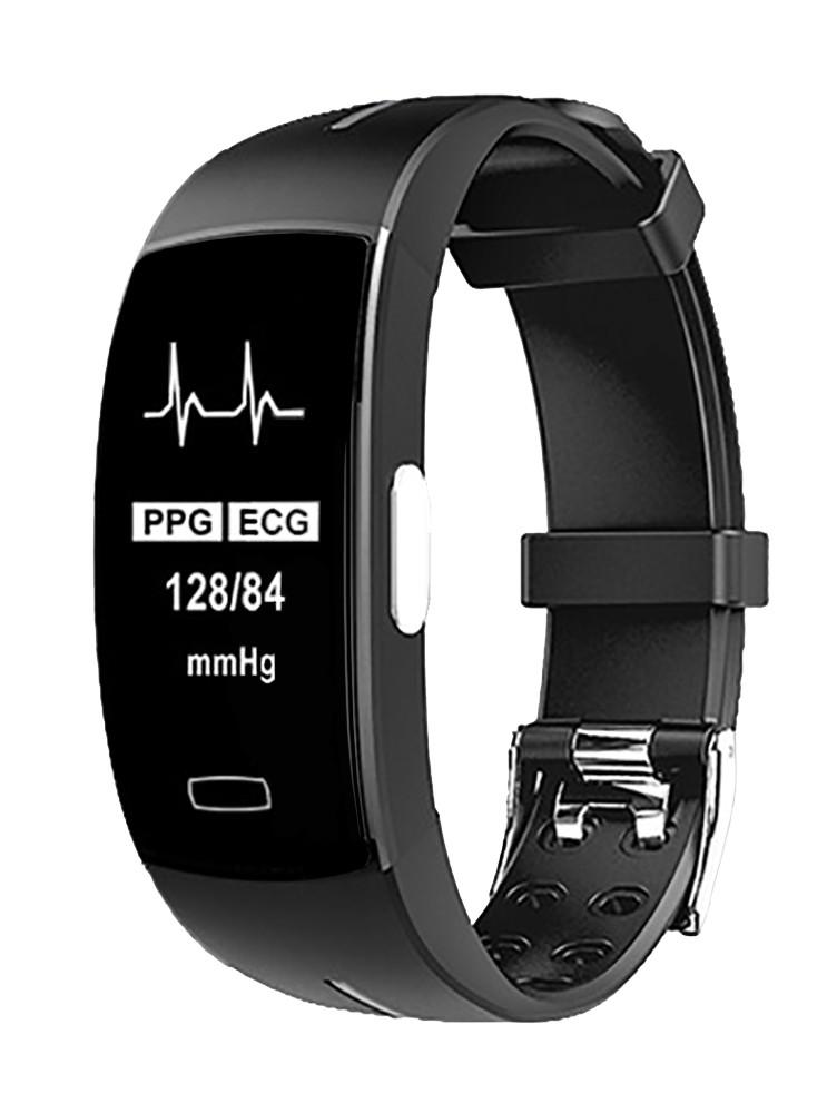 P3 Фитнес браслет с давлением крови HD дисплеем тонометр ЭКГ кардио пульсомер для iPhone Android трекер черный