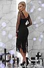 Женское нарядное платье с бахамой, размеры от 44 до 48, чёрное, облегающее, вечернее, коктейльное, фото 3