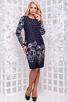 Деловое платье бордовое с черным размеры от XL ПБ-216