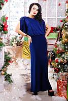 Платье вечернее ВЕРОНА синее-електрик микромасло 42, 44, 46, 48, 50р спинка открытая с запахом, майка в компл