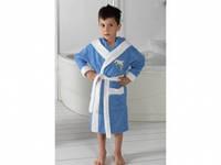 Детский халат для мальчика Philippus голубой с дельфинчиком 5-6 лет.