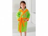 Детский халат для девочки Philippus светло-салатовый с жирафиком 7-8 лет.