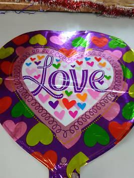 Гелиевый шарик фольгированный в форме сердца с надписью  love