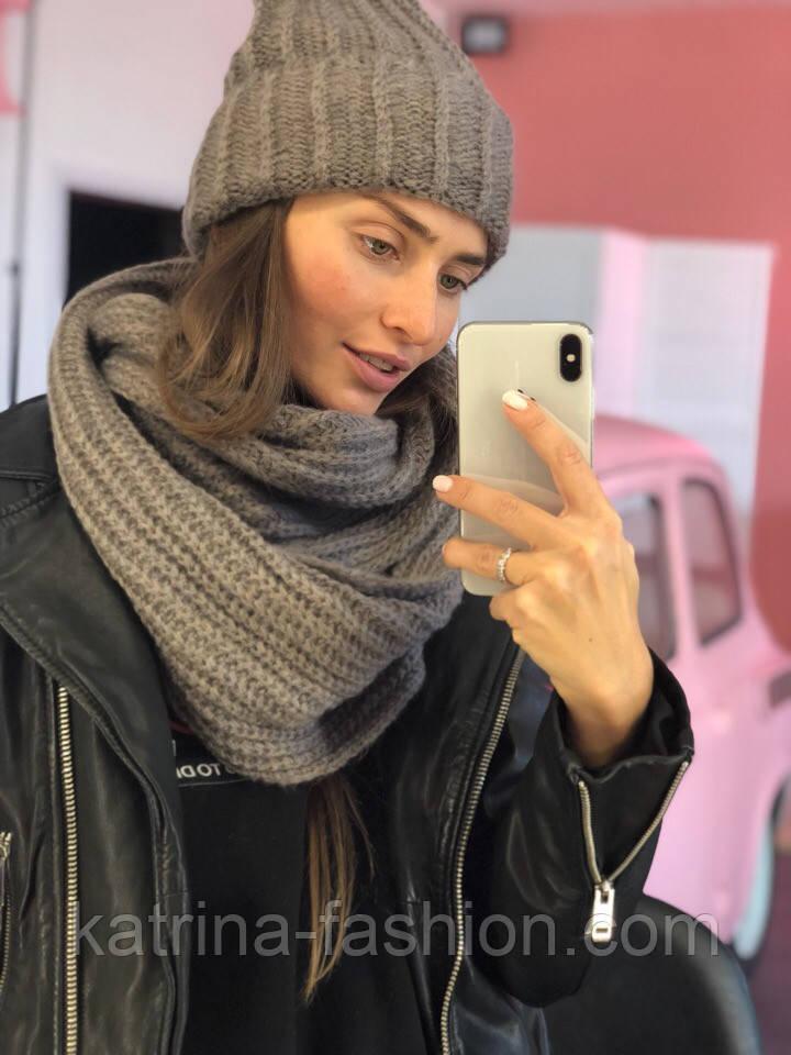 Женский комплект: вязаная шапка и шарф (6 цветов)