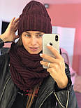Женский комплект: вязаная шапка и шарф (6 цветов), фото 7