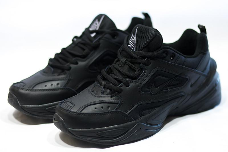 Кроссовки найк М2К текно мужские черные кожаные спортивные демисезонные (реплика) Nike M2K Tekno Black Leather