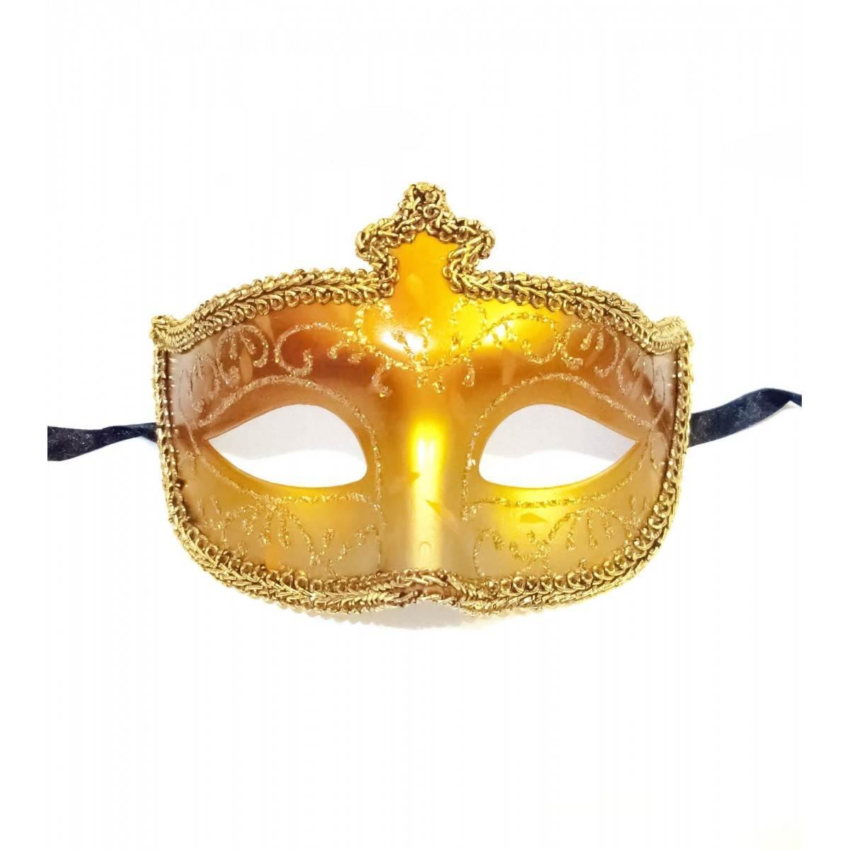 Маска венецианская на глаза золотистая