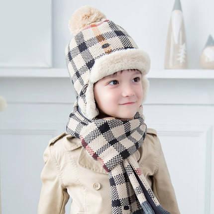Детский зимний набор шапка и шарф Клетка #2
