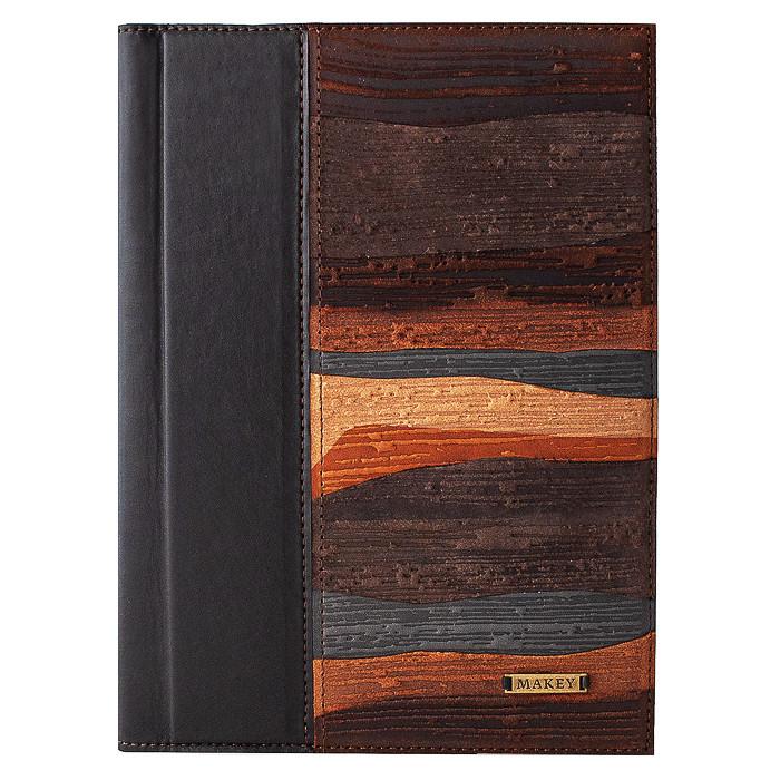 """Щоденник А5 формату в шкіряній обкладинці """"Фіорди"""". Колір коричневий"""