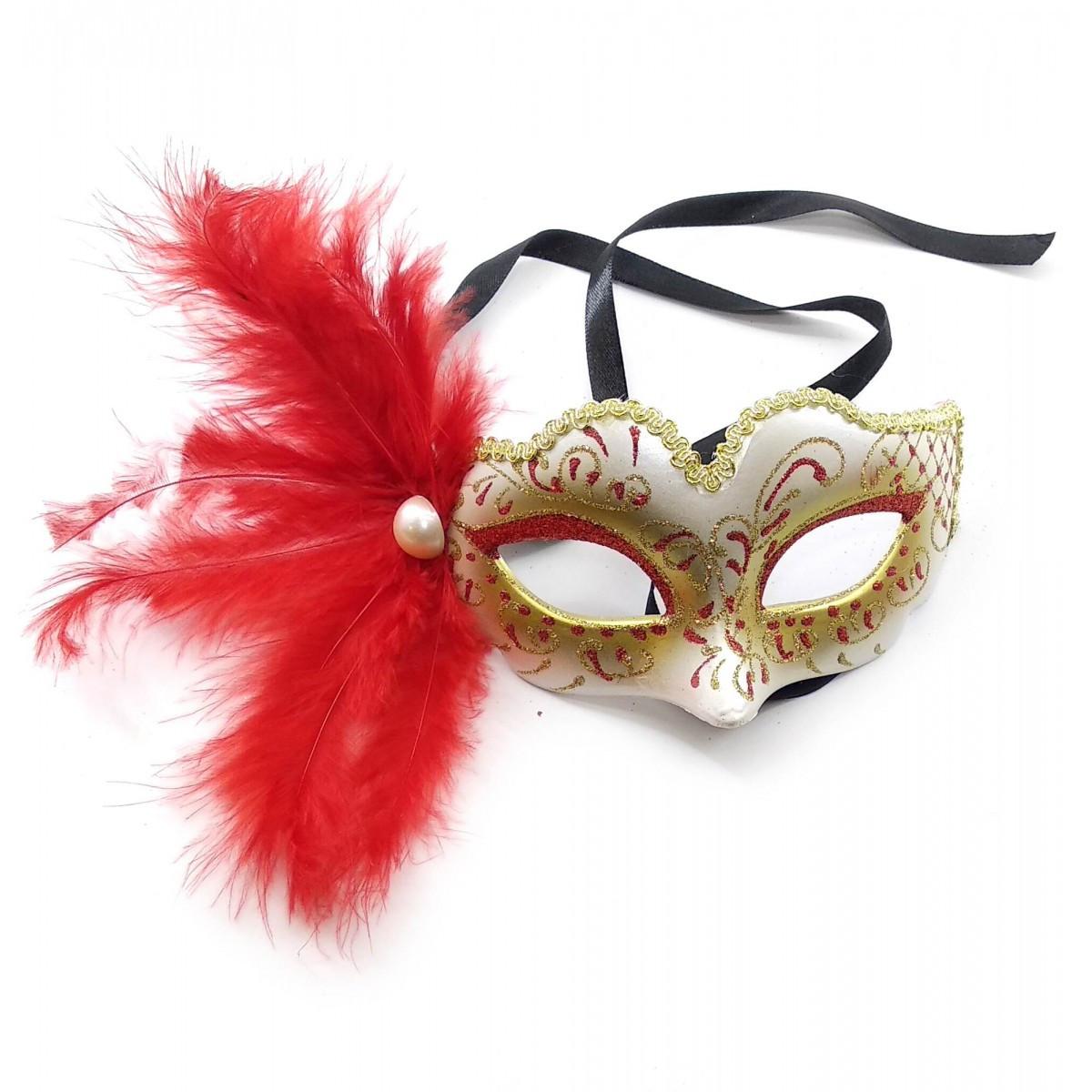 Маска карнавальна жіноча з червоним пером