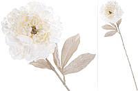 Декоративный цветок Пион с легким глитером на лепестках, цвет - сливочно-белый BonaDi 709-372