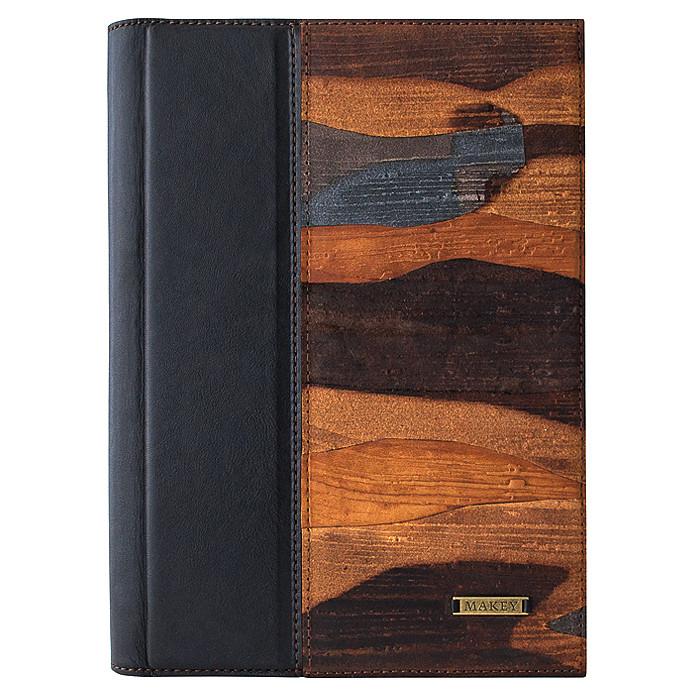 """Ежедневник А5 формата в кожаной обложке """"Фьорды"""". Цвет черный"""
