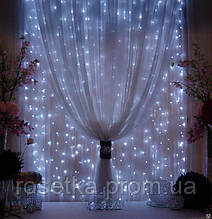 Гірлянда-штора 2*2 м. з єфектом Водоспаду 240 LED (waterfall light), біла, синя, жовта,кольорова