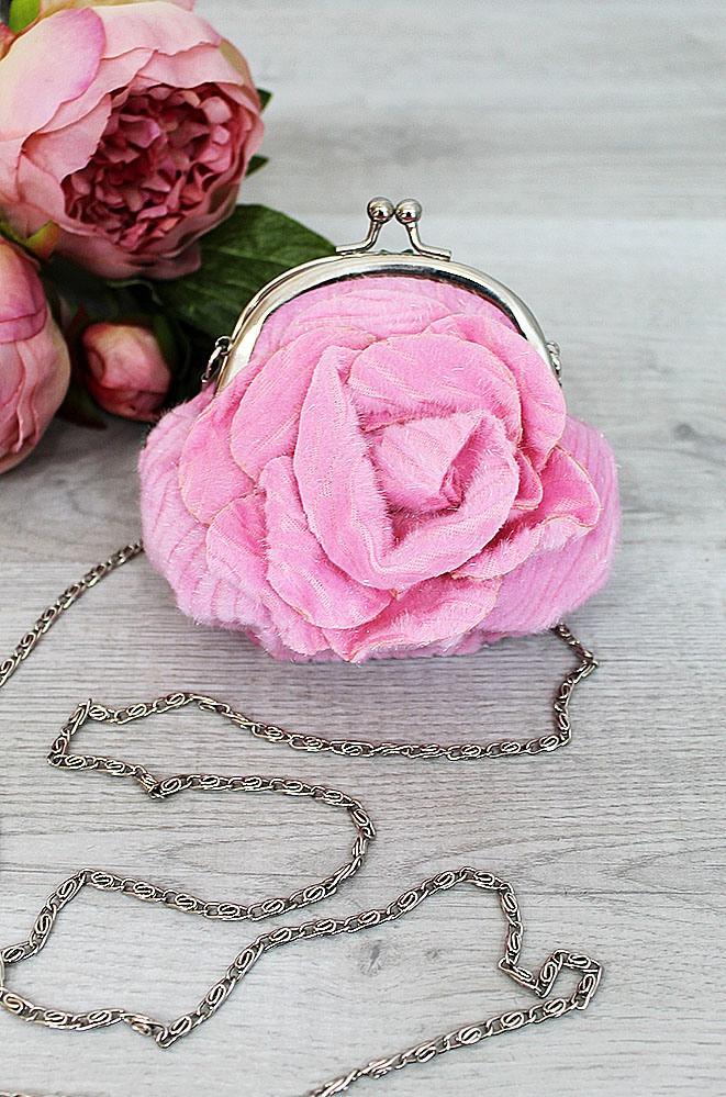 Сумочка цветочек светло-розовая 13 х 11 х 2 см 4355-4