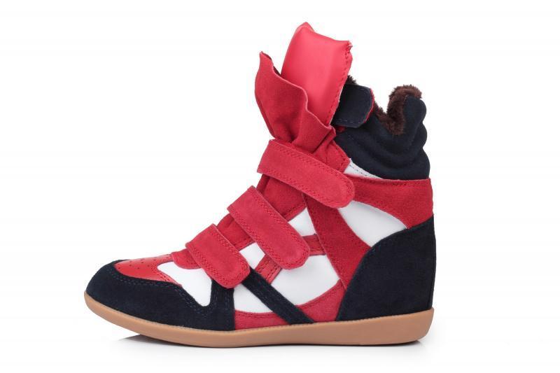 Оригинальные женские зимние кроссовки с мехом Sneakers Blue White Red Winter