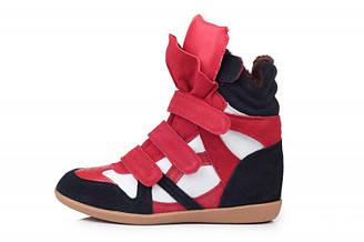 Женские зимние кроссовки с мехом Sneakers Blue White Red Winter