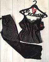 Пижама атласная с черным кружевом женская