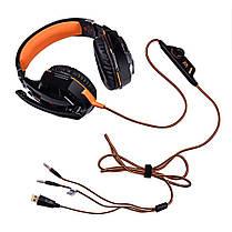 Игровые наушники с микрофоном USB + 3,5 мм геймерские для компьютера ПК игр с подсветкой Kotion Each ор. G2000, фото 2
