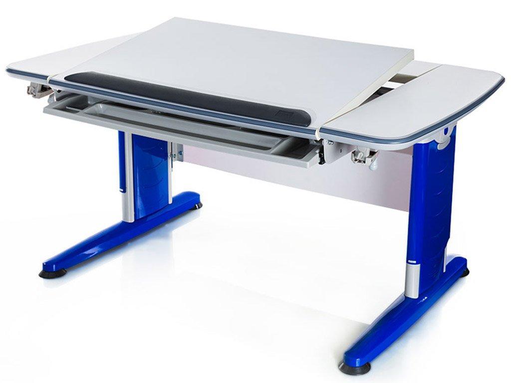 Дитяча парта растишка стіл трансформер Mealux Boston BD-161 W/B (білий/ніжки сині)