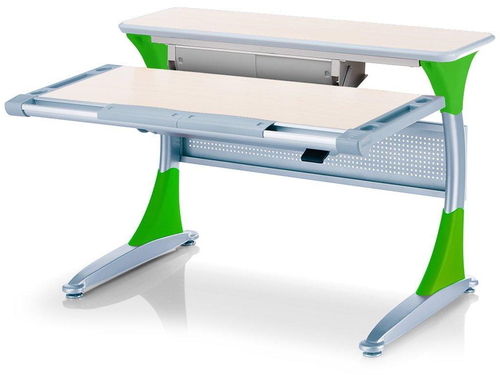 Дитяча парта растишка стіл трансформер Mealux Harvard BD-333 TG/Z - box Береза зелений з кабінетом