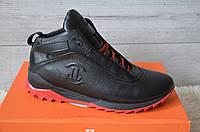 Зимние Мужские Кроссовки кожаные Level черные, красная подошва, фото 1
