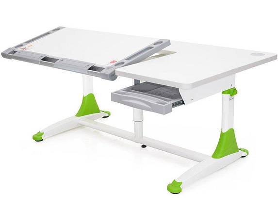 Детская парта растишка стол трансформер Mealux King BD-368 White Z Green, фото 2