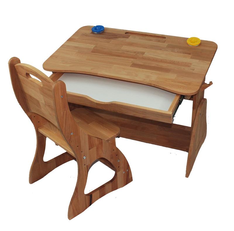 Комплект Детская парта растишка стол трансформер Mobler Р190-1 + стул С300 из натурального дерева Бук