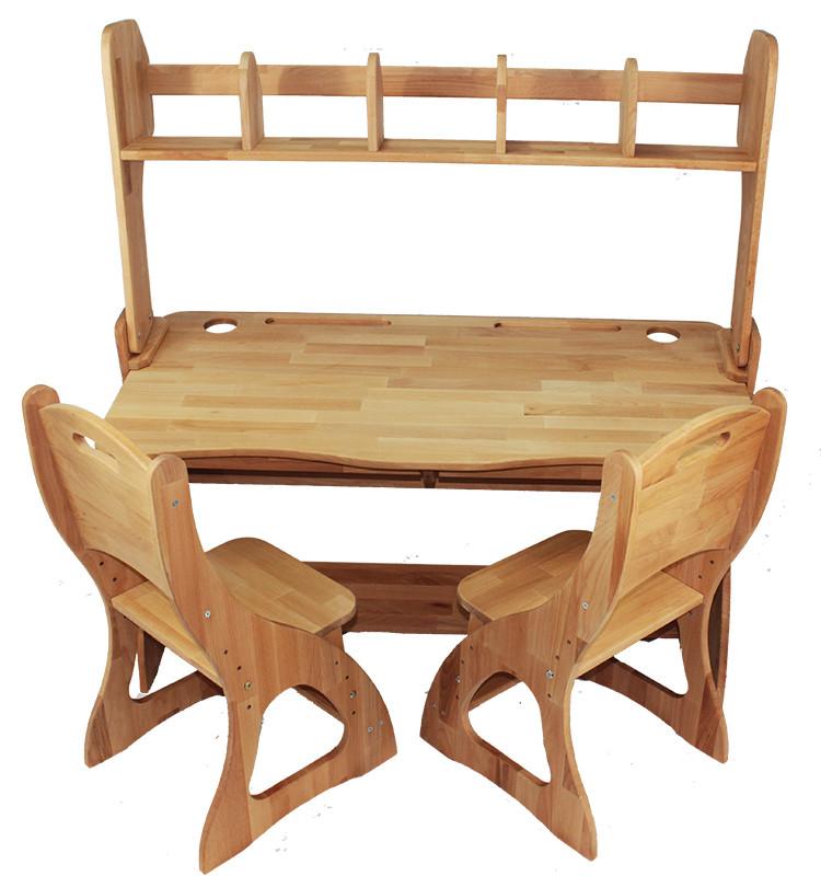 Комплект детская парта растишка стол трансформер Mobler Р112-1 + два стульчика (С300+С300) + надстройка Н112 из натурального дерева Бук
