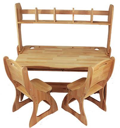 Комплект детская парта растишка стол трансформер Mobler Р112-1 + два стульчика (С300+С300) + надстройка Н112 из натурального дерева Бук, фото 2