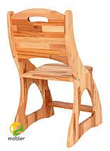 Комплект детская парта растишка стол трансформер Mobler Р112-1 + два стульчика (С300+С300) + надстройка Н112 из натурального дерева Бук, фото 3