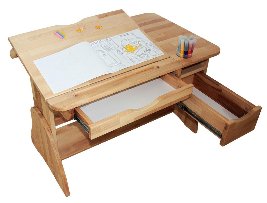 Детская парта растишка стол трансформер Mobler LUX Р790 из натурального дерева Бук