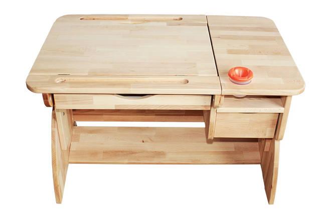 Детская парта растишка стол трансформер Mobler LUX Р790 из натурального дерева Бук, фото 2