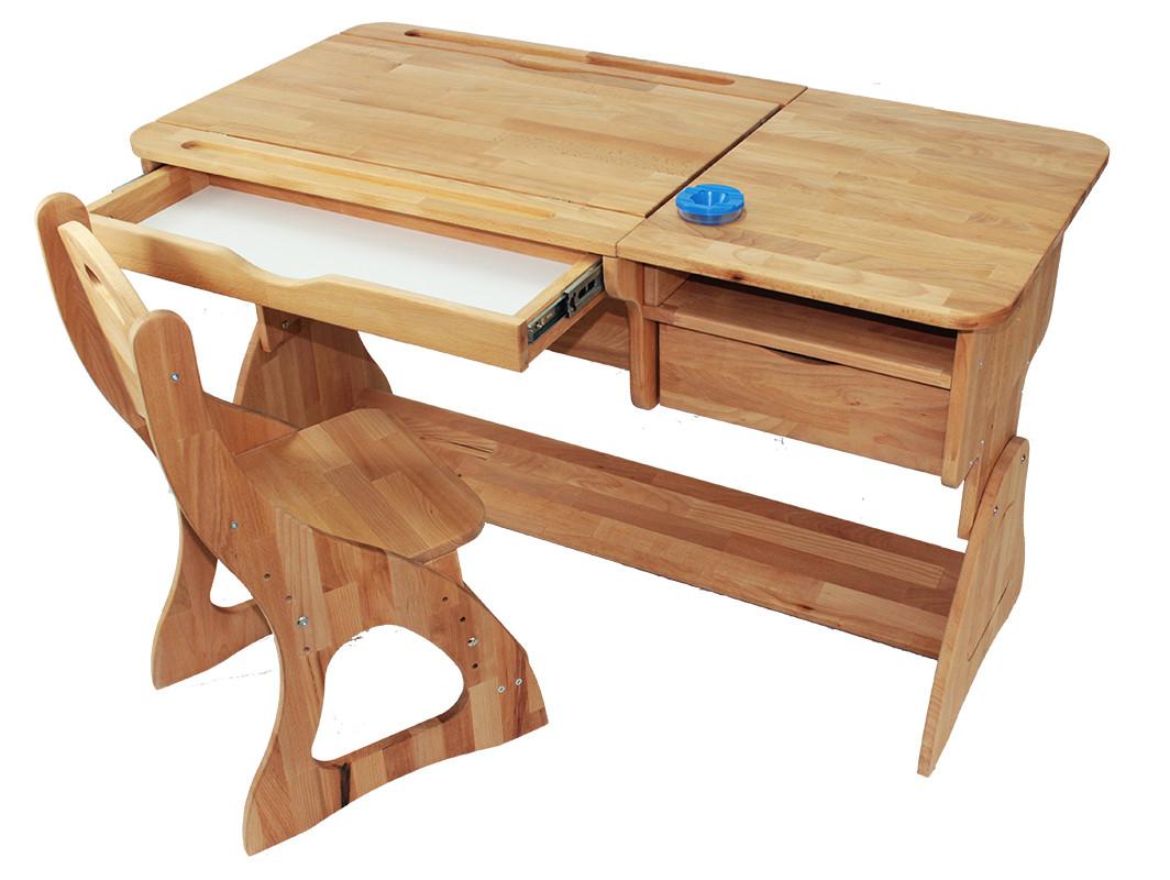 Комплект детская парта растишка стол трансформер Mobler Р712 + стул С300 из натурального дерева Бук
