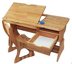 Комплект детская парта растишка стол трансформер Mobler Р712 + стул С300 из натурального дерева Бук, фото 2