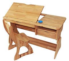 Комплект детская парта растишка стол трансформер Mobler Р712 + стул С300 из натурального дерева Бук, фото 3