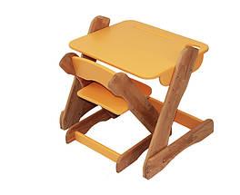 Столик и стульчик Mobler Карапуз оранжевый из натурального дерева Бук, фото 3
