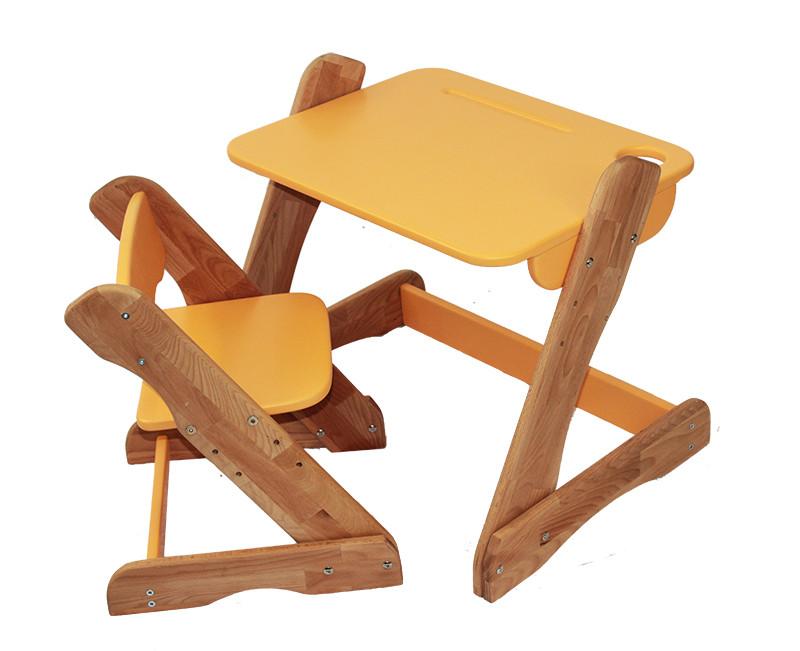 Комплект Детский регулируемый столик трансформер и стульчик Mobler Карапуз оранжевый из натурального дерева Бук