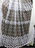 Білий тюль з вишивкою корд шнурком, фото 1