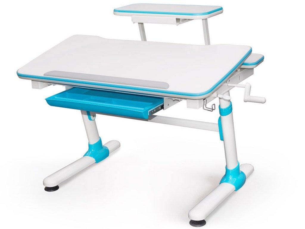 Детская парта растишка стол трансформер Evo-Kids Evo-501 Duke Blue (с полкой)