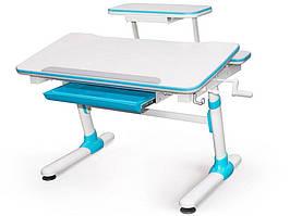 Дитяча парта растишка стіл трансформер Evo-Evo Kids-501 Duke Blue (з полицею)