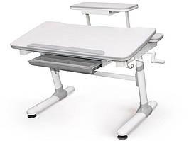 Дитяча парта растишка стіл трансформер Evo-Evo Kids-501 Duke Grey (з полицею)