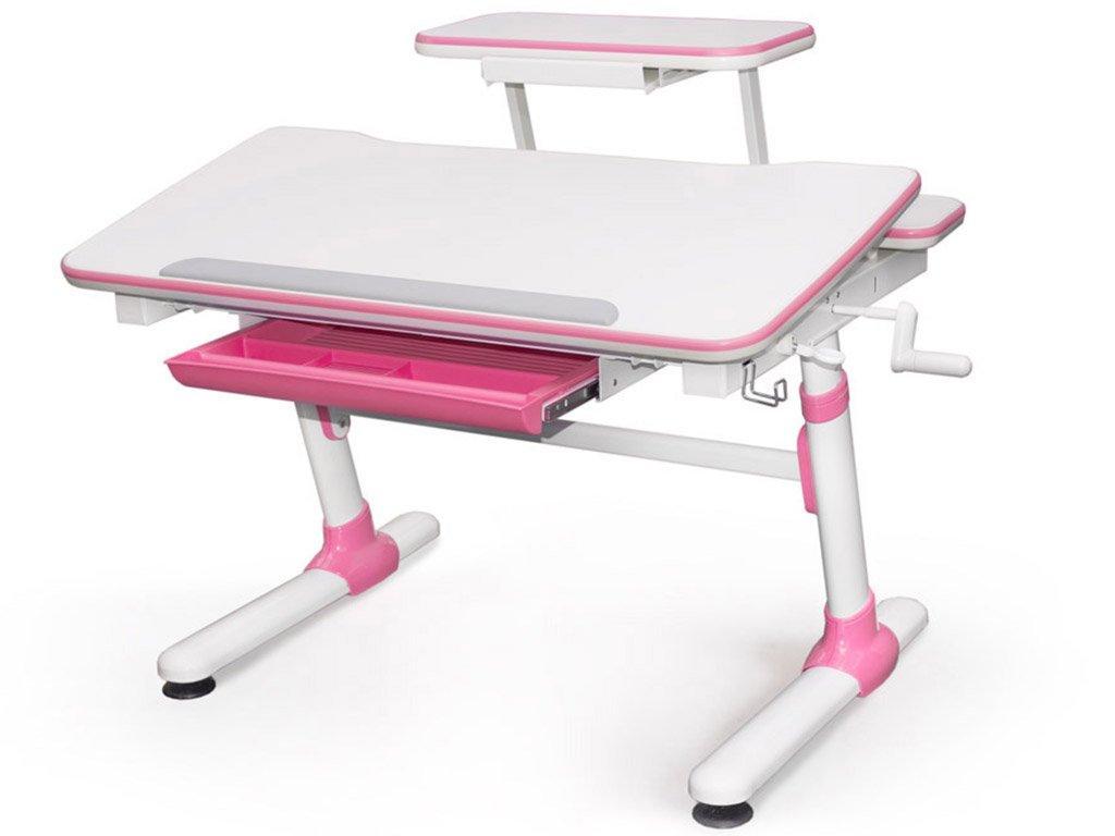 Детская парта растишка стол трансформер Evo-Kids Evo-501 Duke Pink (с полкой)