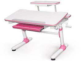 Дитяча парта растишка стіл трансформер Evo-Evo Kids-501 Duke Pink (з полицею)