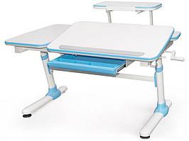 Дитяча парта растишка стіл трансформер Evo-Evo Kids-502 Darwin Blue (з полицею)