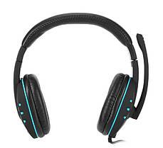 Игровые наушники с микрофоном 3,5 мм. геймерские для компьютера синие игр ПК KOMC A7, фото 2