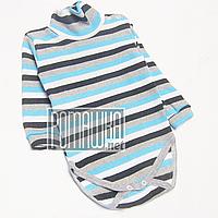 Детский боди-гольф в полоску р. 92 в рубчик с начесом ткань РУБЧИК 100% хлопок ТМ Ромашка 4505 Голубой