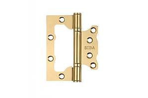 Петли дверные накладные SIBA 100 мм, полированная латунь