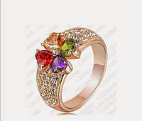 Кольцо покрытие золото с кристаллами р 18 19 код 564