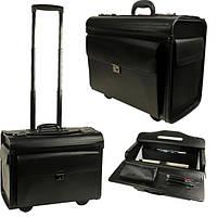 Деловой чемодан на колесах из экологической кожи черного цвета, кейс, дипломат